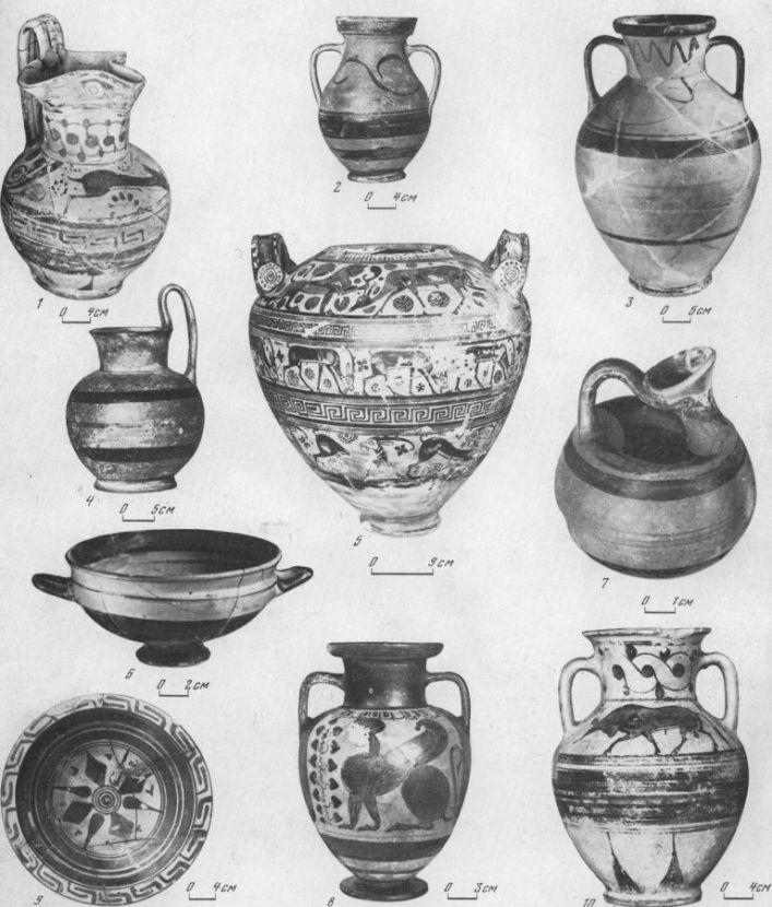 Таблица CXL. Родосско-ионийская керамика 1 — ойнохоя, вторая четверть VI в. до н. э.; 2 — амфора (на горле граффити А), вторая половина VI в. до н. э.; 3 — амфора, вторая половина VI в. до н. э.; 4 — кувшин, конец VI в. до н. э.; 5 — родосская ваза, последняя четверть VI в. до н. э.; 6 — килик, вторая четверть VI в. до н. э.; 7 — аск, первая половина V в. до н. э.; 8 — амфора, первая половина VI в. до н. э.; 9 — тарелка, вторая половина VI в. до н. э.; 10 — амфора, первая половина VI в. до н. э. 1, 5 — Березапь; 2, 4, 8 — Пантикапей; 3, 6, 7, 10 — Гермонасса; 9 — Ольвия. Составитель Е. Г. Кастанаян