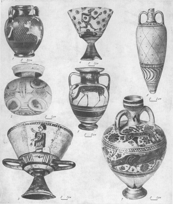 Таблица CXLI. Керамика восточногреческих центров 1 — амфора с росписью клазоменсиого стиля, вторая половина VI в. до н. э.; 2 — арибалл, около середины VI в. до н. э., Коринф; 3 — килик, первая четверть VI в. до н. э., Иавкра-тис (Хиос); 4 — килик, около середины VI в. до н. э., Навкра-тис (Хиос); 5 — амфора с росписью клазоменсиого стиля, первая половина VI в. до н. э.; 6 — амфориск, группы «Фи-келлюра», середина VI в. до н. э.; 7 — амфориск, первая половина VI в. до н. э., Коринф  1 — Тиритака; 2, в — Пантикапей; 3 — Березань; 4, 7 — Ольвия; 5 —Таманский полуостров. Составитель Е. Г. Кастанаян