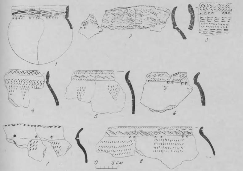 Pue. 9. Некоторые специфические орнаментальные композиции на керамике «позднеприказанской» (1, 3, 4), «курмантау» (2, 5, 6, 8) и «ерзовской» (7). 1 — могильник Маклашеевка II, раскопки П. А. Пономарева (ГМТР); 2 — поселение Удельно-Дуванейское, раскопки Г. И. Матвеевой (КА БГУ), 127/7, 12, 19); 3, 4 — Атабаево (ГМТР, 12248, АА-362-395; ГМТР, без №); 5, 6, 8 — Касьяновская стоянка (УМ, КС-54, 4788; 2473/3; 1652/3); 7 — поселение Заюрчим, раскопки В. П. Денисова, 1959 (КА ПГУ, 176).