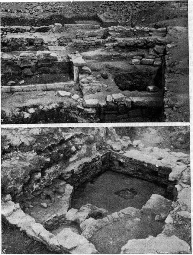 Рис. 27. Общий вид раскопа (а) и центральная подпольная топочная часть бани А (б)