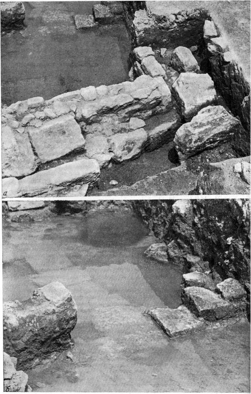 Рис. 28. Кладки (27—24) Тмутараканского времени (а) и кладка (25) VIII—IX вв. (под водой) (б)