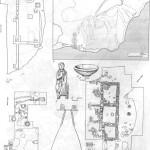 Таблица XXXV. Киммерик 1 — план раскопа «холм А»: А — Г — помещения: а —кладки стен; б — очаги; в — ямы; 2 — миска; 3 — терракотовая статуэтка V в. до н. э.; 4 — план горы Опук (по Ю. Ю. Марти) с указанием расположения раскопов: а — «Змеиный холм» (1940—1949 гг.); б — Береговой (1950—1951 гг.); в — «холм А» (1950—1951 гг.); г — цитадель на горе Опук; д — восточная оборонительная стена; е — западная оборонительная стена; 5 — план цитадели на плато горы Опук: А — стена; Б — башни; В — круглая башня; Г — пещеры в скале; Д — яма; Е — начало городской степы; в — план раскопа «Береговой»; 7 — разрез зерновой ямы на раскопе «Береговой». Составитель И. Т. Кругликова