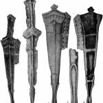Рис. 62. Железный кинжал в бронзовых ножнах из сел. Колхиды: 1 — кинжал в ножнах; 2 — тот же кинжал без ножен; 3 — лицевая и 4 — тыльная стороны ножен; 5 — боковой вид нижнего конца ножен.
