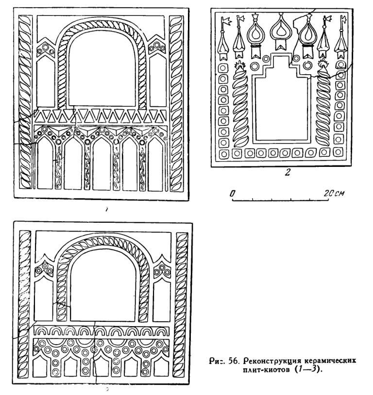 Рис. 56. Реконструкция керамических плит-киотов (7—3).