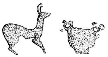Рис. 7. Писаница на горе Кизех-тах; изображения антилопы и бронзового котла.