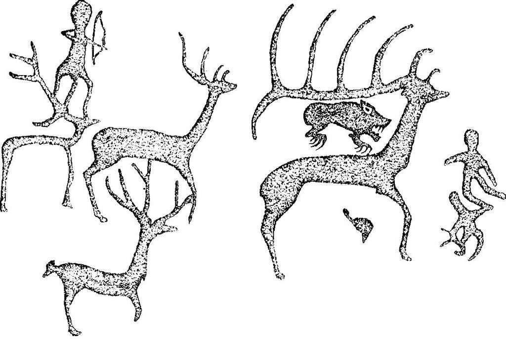 Рис. 6. Писаница на горе Кизех-тах: сцена охоты.