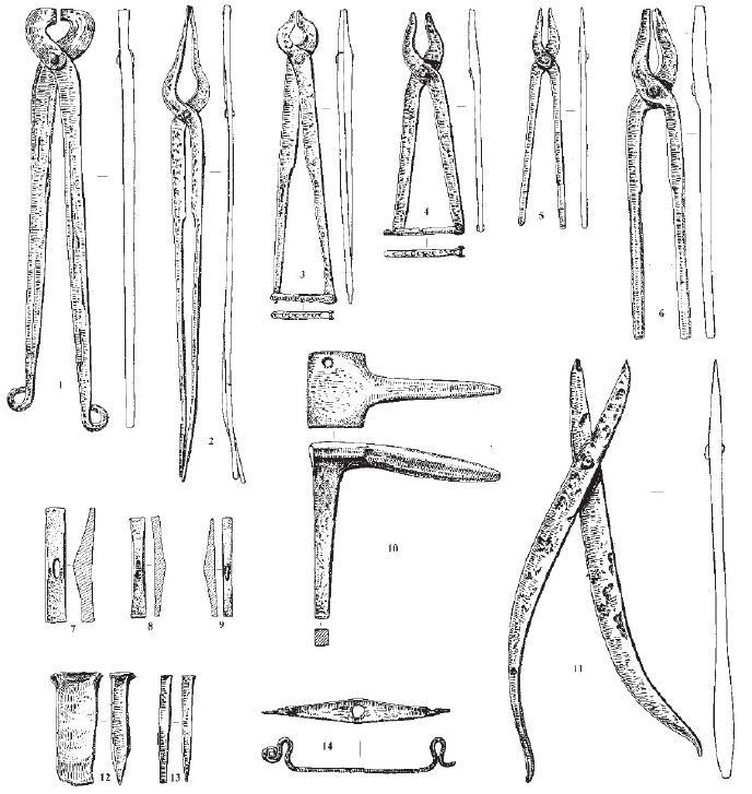 Рис. 37. Некоторые предметы из клада кузнечных и ювелирных инструментов VIII в. н. э. из раскопок в Старой Ладоге: 1-6 - клещи, 7-9 ювелирные молоточки, 10 - наковальня для ювелирных работ, 11 - ножницы для резки цветного металла, 12-13 - зубила, 14 - ручка крышки ларца.