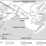 Рис. 12.8. Реконструкция Берингова моста суши. Аляска окончательно отделилась от Сибири 11 000 лет назад, когда вследствие потепления повысился уровень морей