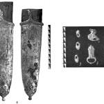 Рис. 5, Десятинная церковь. Инвентарь из погребения. а — наконечник ножен меча; б — наконечник ремня. в — пряжка; г — фрагмент украшения; д — три бляшки.