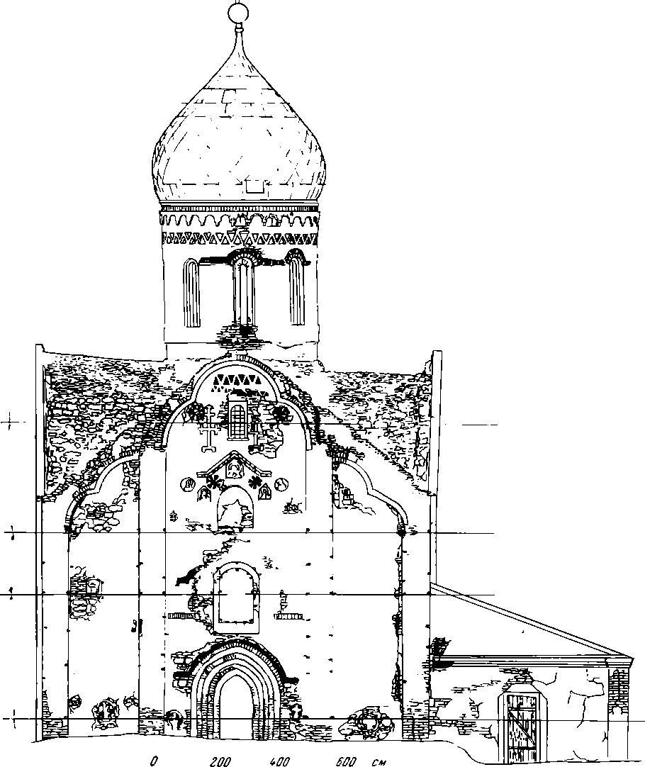 Рис. 2. Церковь Петра и Павла в Кожевниках 1406 г. Новгород. Архитектурный обмер западного фасада