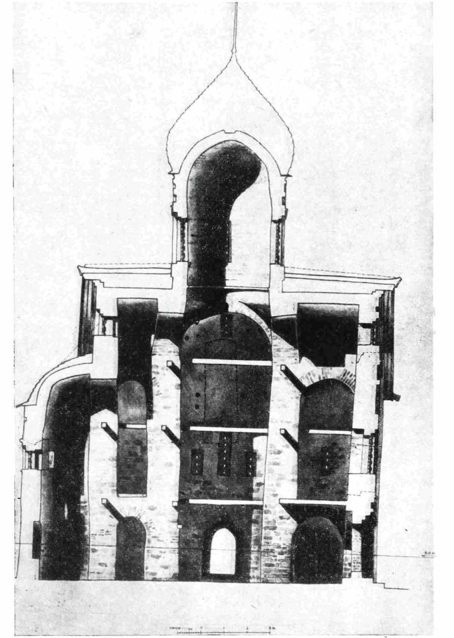 Рис. 4. Церковь Петра и Павла в Кожевниках 1406 г. Новгород. Продольный разрез