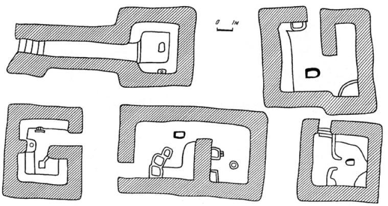 Рис. 4.38. Планировка домов Кок-Мардана. VI—VII вв. н.э.