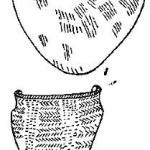 Рис. 102. Изделия с ямочным орнаментом из Средней России и сосуды в восточношведском стиле с Аландских островов (1/6).