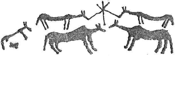 Рис. 124. Кони у мирового дерева. Тепсей