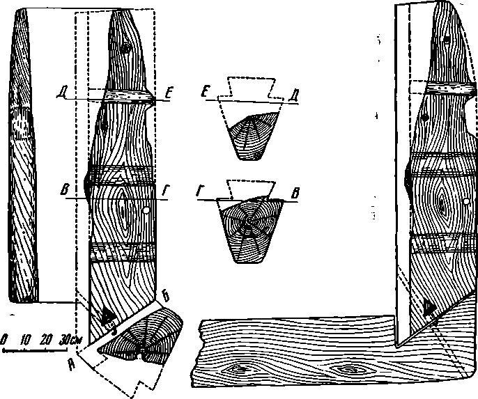 Рис. 1. Детали корабля. 1 — остатки ахтерштевня; 2 — реконструкция соединения ахтерштевня с килем