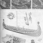 Рис. 74. Судно из Усеберга Вверху — процесс раскопок в Усеберге; внизу — особенности конструкции судна