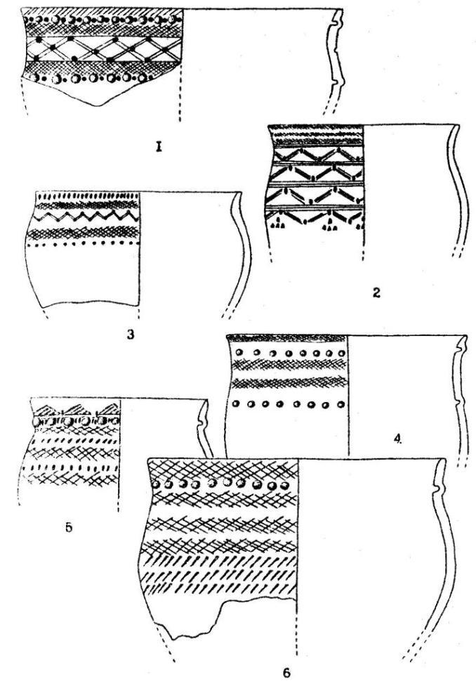Рис. 10.Керамика с поселений: Мыльниково (1-4), Речкуново II (5),Казенная Заимка (6)