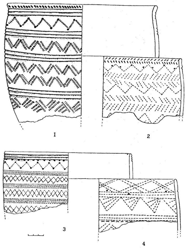 Рис. 2. Керамика фирсовского типа, Костенкова Избушка (1-4)