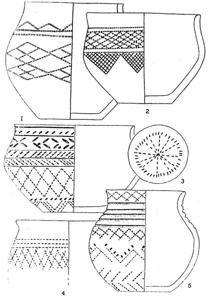 Рис. 5. Керамика фирсовского типа: Тараба I (I); 0рдынское (2); Костенкова Избушка (3,5); Фирсово ХVII (4).