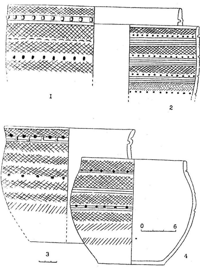 Рис.6. Керамика иткульского типа: Костенкова Избушка (1,3,4); Фирсово ХVII (2)