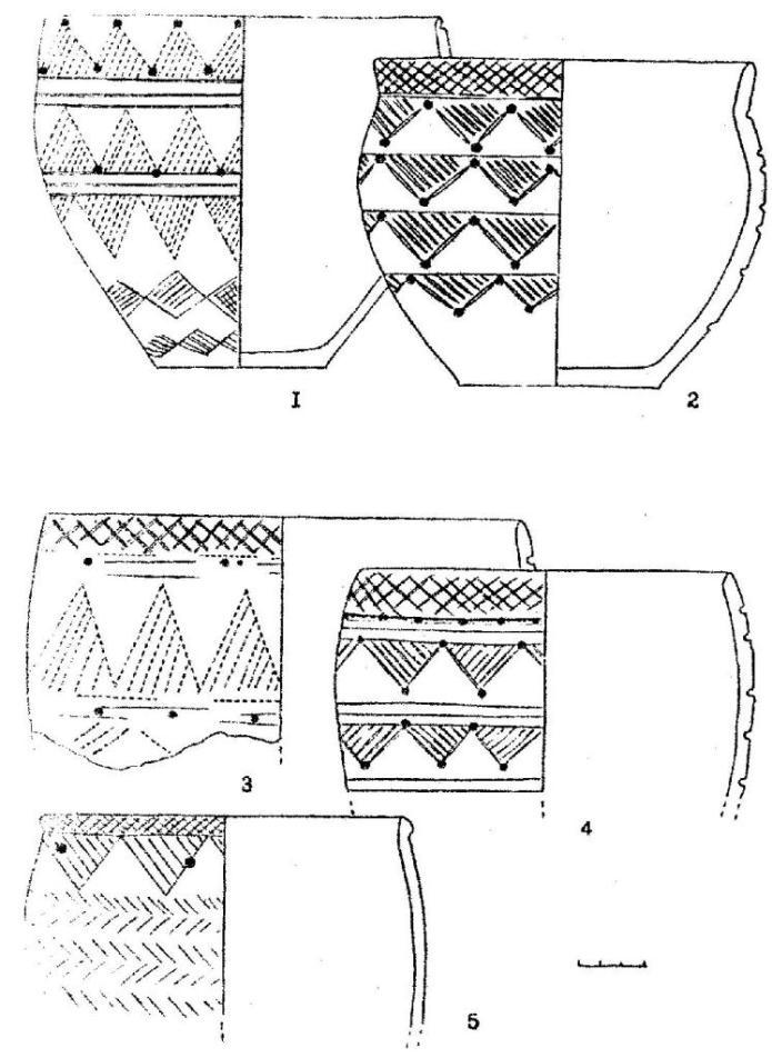 Рис. 9.Керамика иткульского типа. Корчажка V (1-5)
