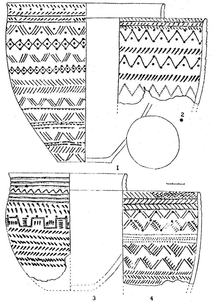Рис I. Керамика фирсовского типа. Костенкова избушка (1-4)