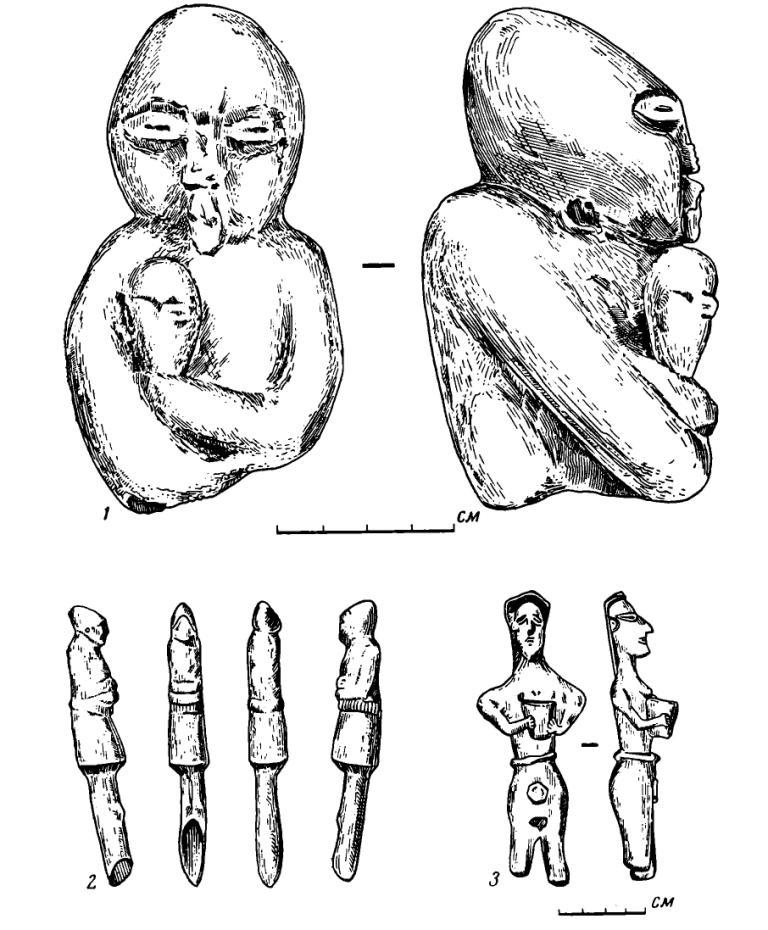 Рис. 59. Костяные и бронзовая статуэтки. 1 — из Дагестанского музея; 2 — из Тепе-Сналка (по Р. Гиршману); 3 — бронзовая из Дагестанского музея (инв. № 1974).