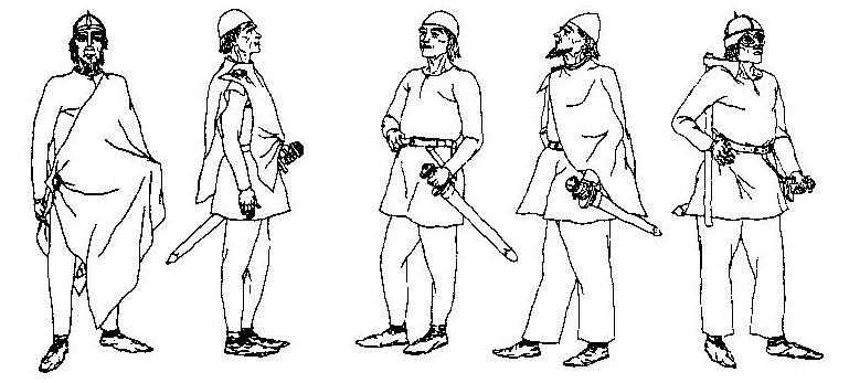 Рис. 82. Мужской костюм рядовых викингов (реконструкция Б. Альмгрена).