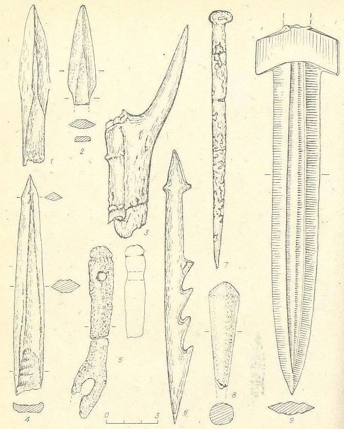 Рис. 10. Городище Инберень VI. Изделия из кости {1—8) и металла (9).