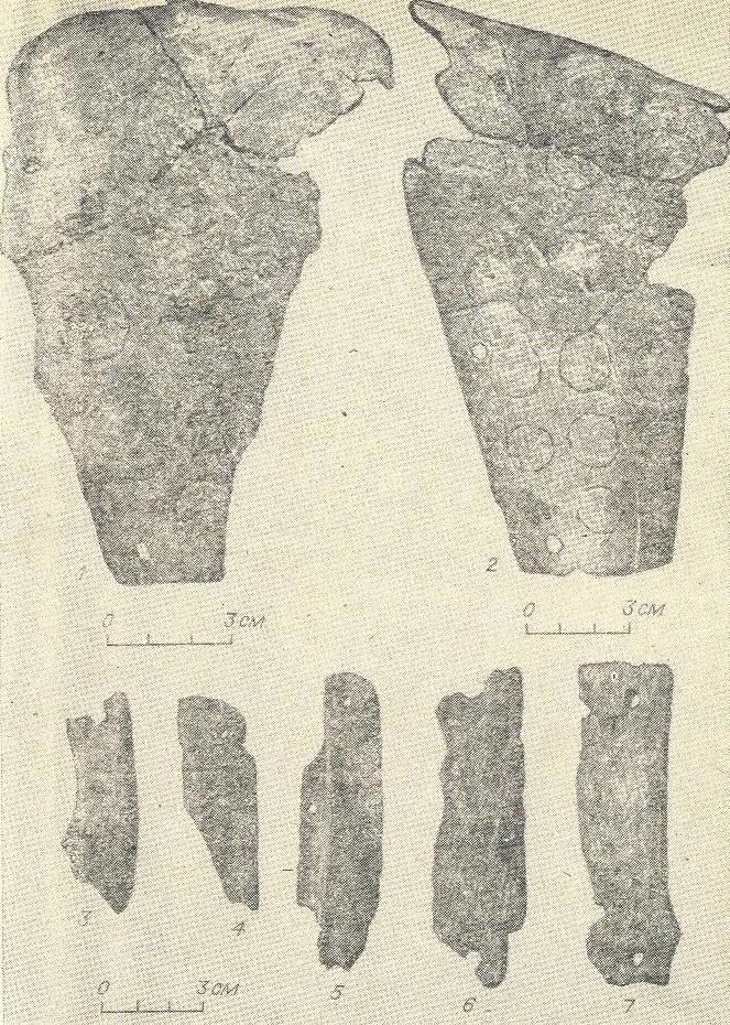 Рис. 6. Поселение Инберень V. Плечи (1, 2) и пластины панциря (3—7).