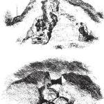 Рис. 2.3. Раскопки могильного кургана в Британии в XIX веке. В журнале «Джентлменз мэгэзин» в 1840 году было дано такое описание раскопок: «Было осмотрено восемь холмов… В большинстве из них находились более или менее сохранившиеся скелеты, остатки железного оружия, кучи щитов, урн, ожерелий, брошей, браслетов, костей, амулетов, изредка сосуды»