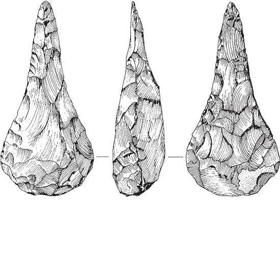 Рис. 2.4. Каменный топор, обнаруженный в тех же геологических слоях, что и кости вымерших животных. Этот экземпляр был найден Джоном Фрером в Хоксне, Англия