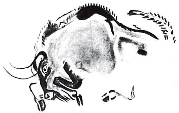 Рис. 2.6. Цветное изображение бизона в Альтамире, Испания. Стиль Альтамиры — главное художественное достижение людей позднего ледникового периода на территории Западной Европы, время создания картин — приблизительно 12 000 год до н. э.