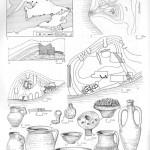 Таблица XLVI. Крепости на Фанталовском полуострове 1 — схема расположения крепостей; 2 — Каменная Батарейка, план; 3 — Батарейка I, разрез оборонительной стены и вала; 4 — Батарейка I, план сохранившейся части крепости; 5 — Иатрей, план крепости; 6—17 — находки из раскопок различных памятников: 6 — лепной кувшин; 7 — фрагмент бронзового замка; 8 — железный ключ; 9 — бронзовое зеркало; 10 — светильник; 11 — краснолаковая чаша с обуглившимся виноградом; 12 — светлоглипяная амфора; 13 —сероглиняный кувшин; 14 — гончарный горшок; 15 — краснолаковое блюдо; 16 — лощеный кувшин; 17 — краснолаковая чаша: а — городища; б — валы; в —- древняя береговая линия и заболоченные участки; г — древние города и поселения; 6—11, 13, 14, 17 — Батарейка II; 12, 15, 16 — Батарейка I. Составитель Ю. М. Десятчиков