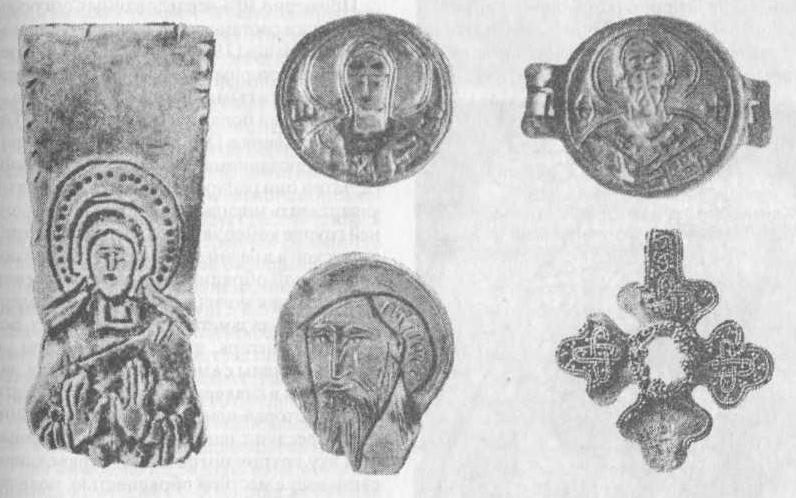 Рис. 123. Археологические находки, связанные с христианским культом