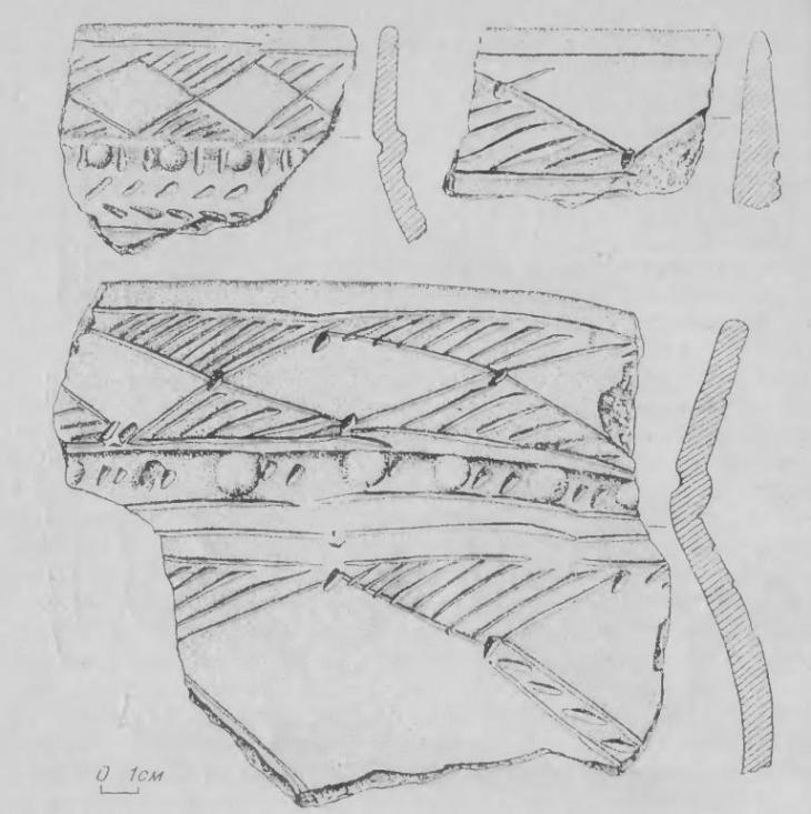 Рис. 3. Фрагменты ирменской керамики памятника Крохалевка 4.