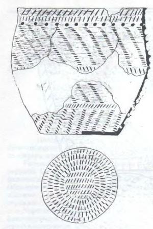 Рис. 2. Орнаментация горшковидного плоскодонного сосуда из керамического комплекса поселения Крохалевка-4.