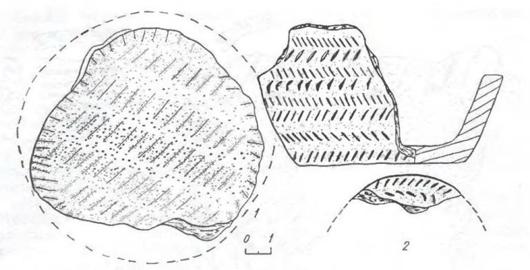 Рис. 6. Элементы насечки на керамике из комплекса Крохалевка-4: 1 — тонкая (на дне сосуда); 2 — елочка.