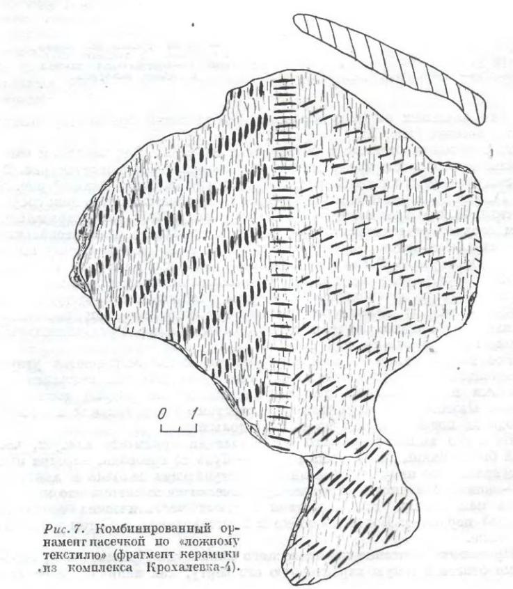 Рис. 7. Комбинированный орнамент насечной по «ложному текстилю» (фрагмент керамики из комплекса Крохалевка-1).