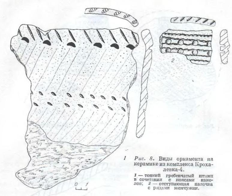Рис. 8. Виды орнамента на керамике из комплекса Крохалевка-4. 1 — тонкий гребенчатый штамп в сочетании с поясами наколов; 2 — отступающая палочка с рядами жемчужин.