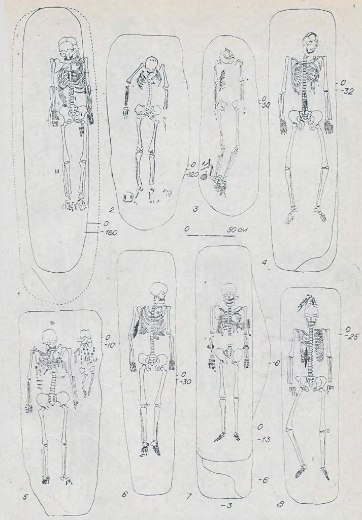 Рис. 38. Захоронения кротовской культуры могильника Сопка-2. 1 — курган 21, погребение 4; 2 — курган 6, погребение 10; 3 — курган 25- погребение 4, 4 — курган 30 погребение 4; 5 — курган 20, погребение 1; 6 —курган 31, погребение 5; 7 — курган 31, погребение 7; 8— курган 31, погребение 4.