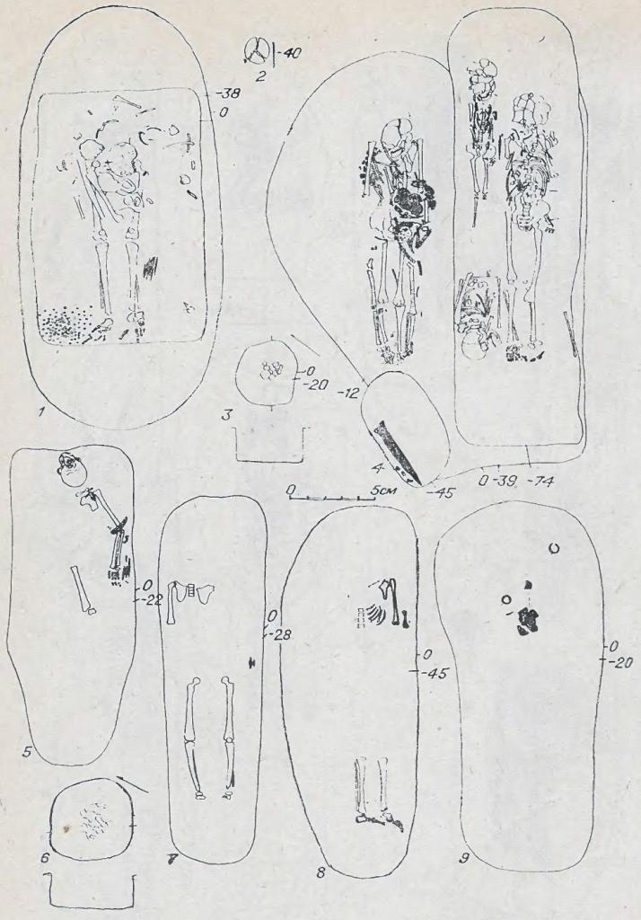 Рис. 41. Захоронения кротовской культуры могильника Сопка-2. 1 — курган 28, погребение 8; 2 — курган 26, погребение 9; 3 — курган 18, погребение 2; 4 — курган 31, погребение 10, 11; 5 — курган 4, погребение 1; б — курган 18, погребение 1; 7 — курган 41, погребение 3; 8 — курган 24, погребение 5; 9 — курган 16, погребение 3.
