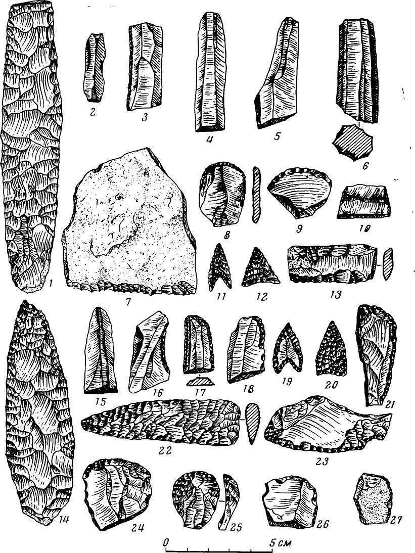 Рис. 6. Кремневый инвентарь погребений эпохи энеолита и ранней бронзы (древнеямная и кеми-обинская культуры)
