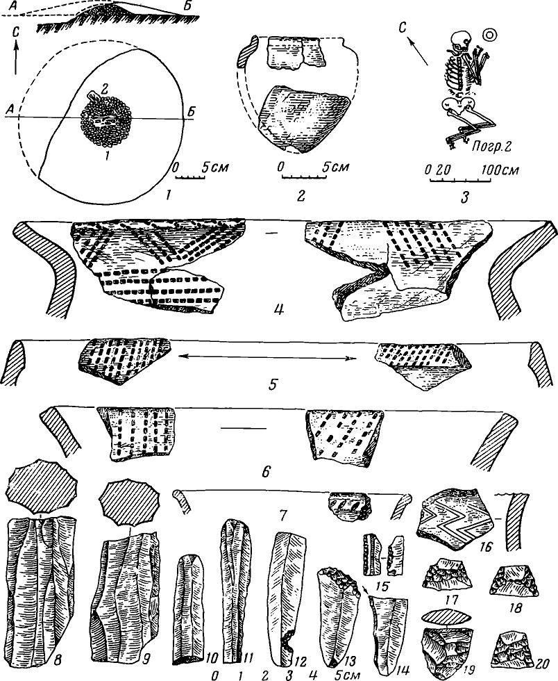 Рис. 1. Курган у с. Украинка и инвентарь стоянки Курды I