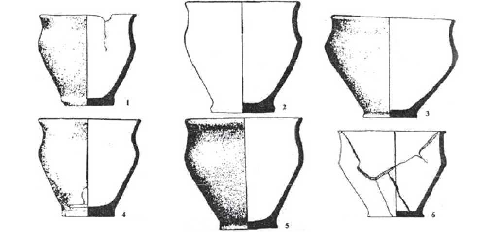 Рис. 3.13. Керамика из могильника Кульсай 1 и Узунбулак 1 (по А.Н. Марьяшеву и А.А. Горячеву).