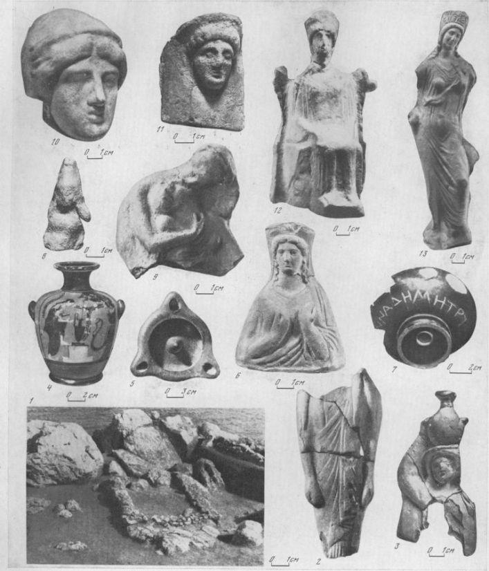 Таблица CXXII. Святилища Деметры в Нимфее и Фанагории 1 — остатки святилища в Нимфее, VI в. до н. э.; 2 — статуэтка Коры, конец VI — начало V в. до н. э.; 3 — гидрофора, V в. до н. э.; 4 — чернофигурная гидрия конца VI в. до н. э.; 5 — сероглиняный светильник, VI в. до н. э.; 6 — протома Деметры, первая половина V в. до н. э.; 7 — килик с посвящением Деметре; 8 — фрагмент статуэтки Кабира, V в. до н. э.; 9 — Деметра и Кора, начало IV в. до н. э.; 10 — голова протомы Деметры, V в. до н. э.; 11 — протома Деметры, IV в. до н. э.; 12 — статуэтка Деметры, IV в. до н. э.; 13 — статуэтка Коры, начало IV в. до н. э. 1—7 — Нимфей; 8—13 — Фанагория. Составитель М. М. Кобылина