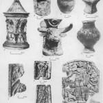 Таблица CXXIII. Культовые изображения и сосуды бенефициариев в Ай-Тодоре 313 1 — Артемида; 2 — Дионис; 3 — Мифра (фрагмент) ; 4 — Геката. Культовые курильницы: 5 — рельефная курильница из Ольвии, III в. до h. э.; 6 — курильница I в. до н. э., дом Хрисалиска; 7 — курильница с солярными знаками, Беляус; 8 — курильница I. в. до н. э,— I в. н. э., Кучугуры; 9 — курильница III в. н. э., Кучугуры; 10 — курильница, III в. н. э. Танаис. Составитель М. М. Кобылина