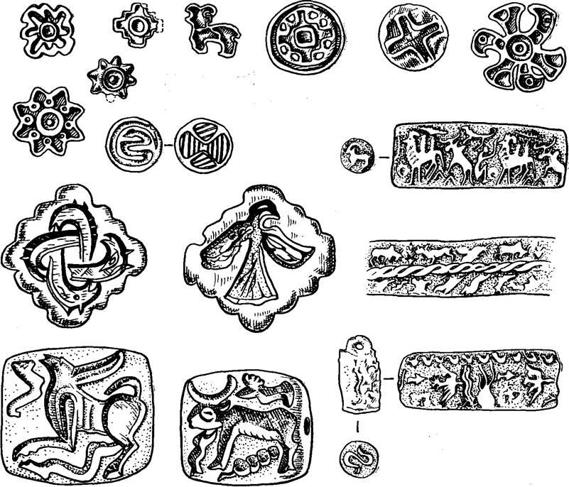 Рис. 5. Культурные традиции на примере печатей бронзового века Маргианы.