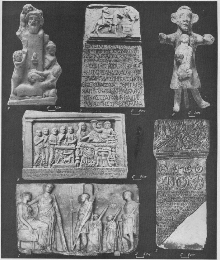 Таблица CXXI. Культовые изображения IV в. до н. э. - III в. н. э. I — плита с изображением поклонения Деметре и Коре, IV в. до н. э., Пантикапей; 2 — плита с посвящением Афродите Урании, III в. до н. э., Пантикапей; 3 — посвящение ситонов, II в. до н. э., Ольвия; 4 — Герма Диониса, жертвоприношение овцы, Пантикапей; 5 — посвятительная надпись фиасотов, Танаис, 104 г. н. э.; 6 — жрец, несущий изображение богини, III в. н. э., Пантикапей 1—3, 5 — мрамор; 4, 6 — терракота. Составитель М. М. Кобылина