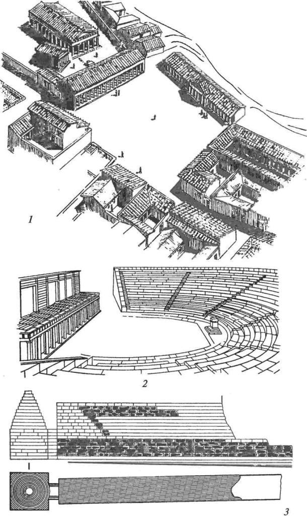 Античные общественные сооружения и склепы в Северном Причерноморье: 1 — агора в Ольвии с общественными зданиями {реконструкция); 2 — театр в Херсонесе (реконструкция); 3 — план и разрез склепа в Царском кургане в районе Пантикапея